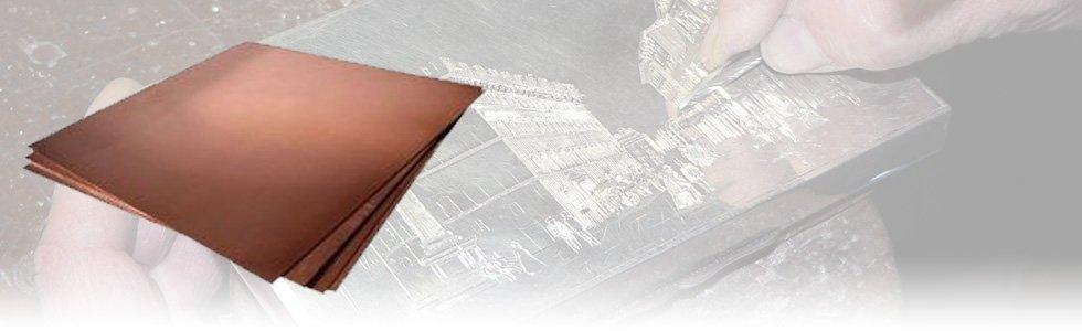 Planchas para grabado de cobre pulido
