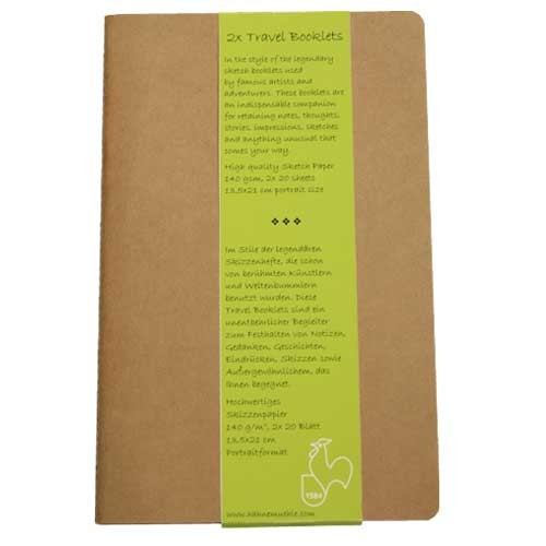 Block Travel Booklet Hahnemühle R, 140 gr, 2x20 h, 13.5x21 cm.