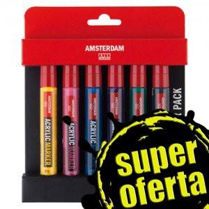 Rotuladores acrílicos Amsterdam, set Starter Pack (6 colores)