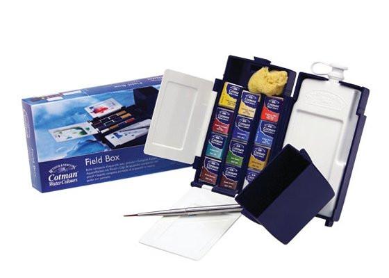 Caja acuarelas de campo Winsor and Newton Cotman, 12 1/2 godets con pincel y depósito