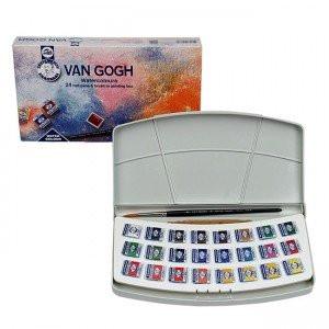 Caja acuarelas Van Gogh, 24 1/2 godets y pincel