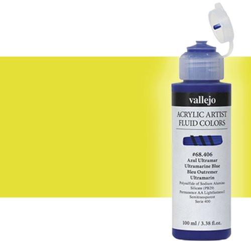 Acrílico Fluido Vallejo 616, amarillo fluorescente, 100 ml.