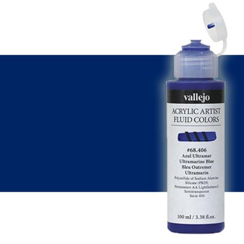 Acrílico Fluido Vallejo 823, azul antraquinona, 100 ml.