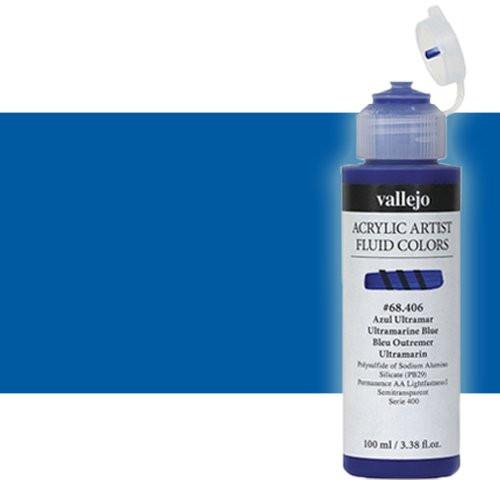 Acrílico Fluido Vallejo 404, azul ftalocianina, 100 ml.