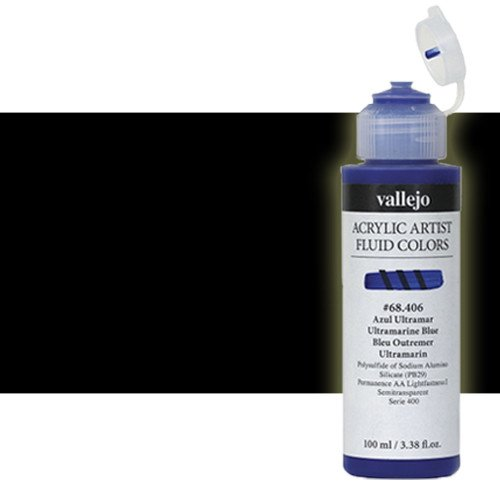 Acrílico Fluido Vallejo 301, negro carbón, 100 ml.
