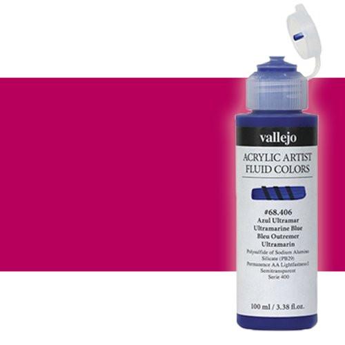 Acrílico Fluido Vallejo 606, rojo quinacridona magenta, 100 ml.