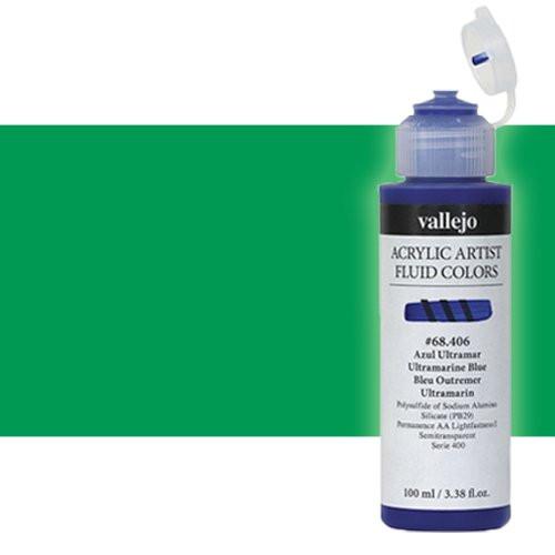 Acrílico Fluido Vallejo 409, verde permanente, 100 ml.