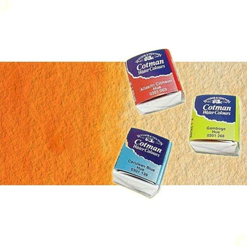 Acuarela Cotman Winsor & Newton 1/2 godet color naranja de cadmio