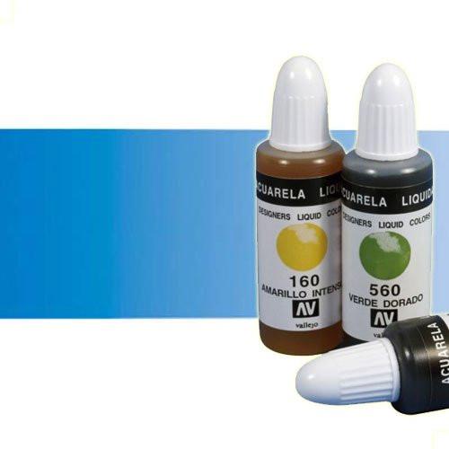 Acuarela líquida Vallejo n. 440 color azul proceso (32 ml)