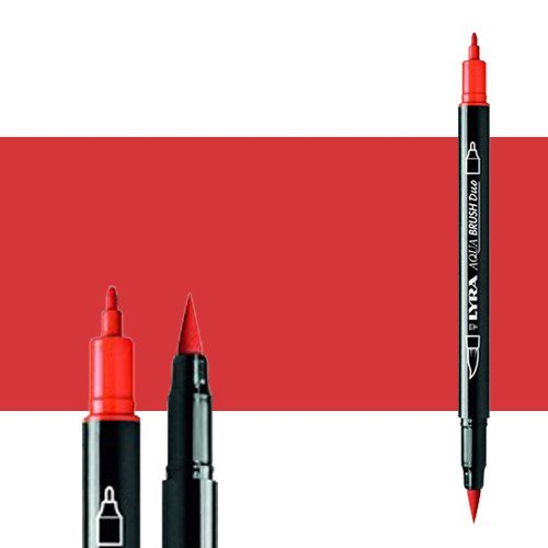 Rotulador doble punta pincel Rojo Geranio. Aqua Brush Duo, Lyra