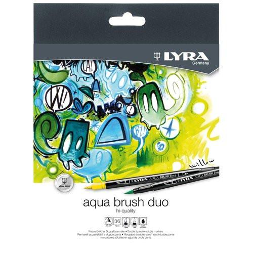 Estuche 24 rotuladores doble punta pincel. Aqua Brush Duo, Lyra