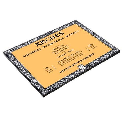 Acuarela Arches 185 gr, 18x26 cm, G. Grueso, block 20 h.