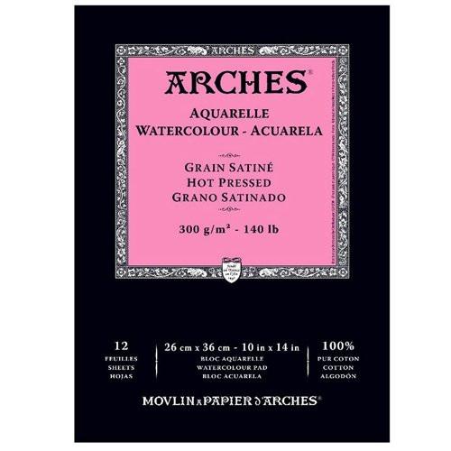 Acuarela Arches 300 gr, 29,7x42cm (A3), G. Satinado, block 12 h.