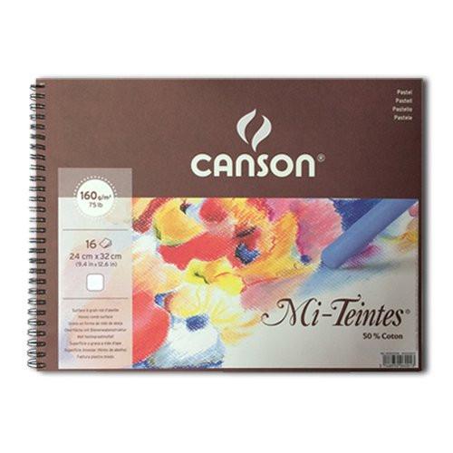 Bloc Canson Mi-Teintes, color blanco, 16h. 160 gr 32x41 cm, con anillas