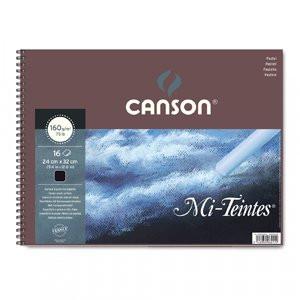 Bloc Canson Mi-Teintes, color negro, 16h. 160 gr 32x41 cm, con anillas