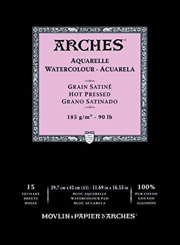 Acuarela Arches 185 gr, 29,7x42cm (A3), G. Satinado, block 15 h. **DESCATALOGADO**