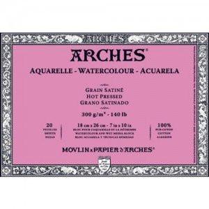Acuarela Arches 300 gr, 18x26 cm, G. Satinado, block 20 h.