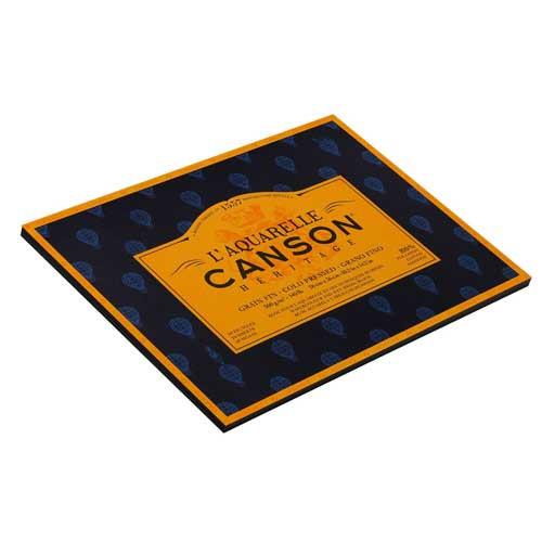 Block Acuarela encol. 4L. Canson Héritage, 20h., 300 gr., 26x36 cm., grano fino