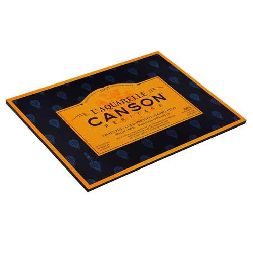 Block Acuarela encol. 4L. Canson Héritage, 20h., 300 gr., 36x51 cm., grano fino