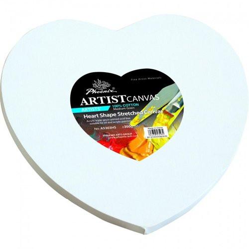 Lienzo forma corazón, 30x30 cm.