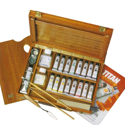 Caja de madera con 17 colores óleo Titan extra fino *