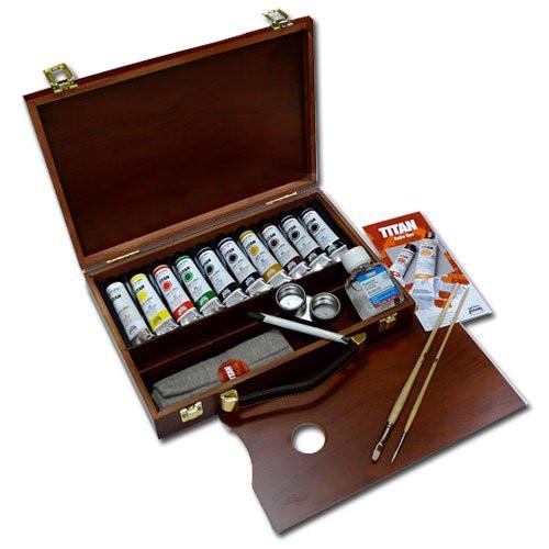 Oleo Titan Extrafino, caja de madera, 10 colores 40 ml. DESCATALOGADO