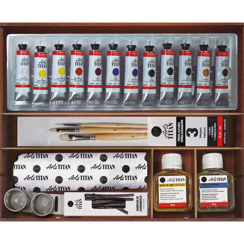 Caja de madera con 12 colores óleo Titan extra fino (20 ml)