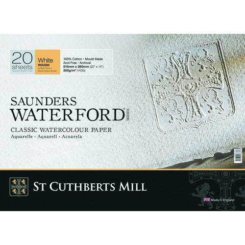 Bloc Acuarela Saunders Waterford, 300 gr, 36x26 cm, 20 hojas, grano grueso, Blanco natural