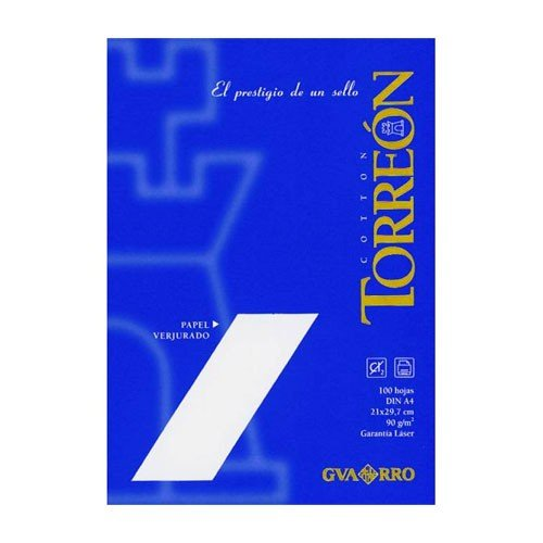 Papel Torreon blanco verjurado, 90 gr., 21x30 cm., A4