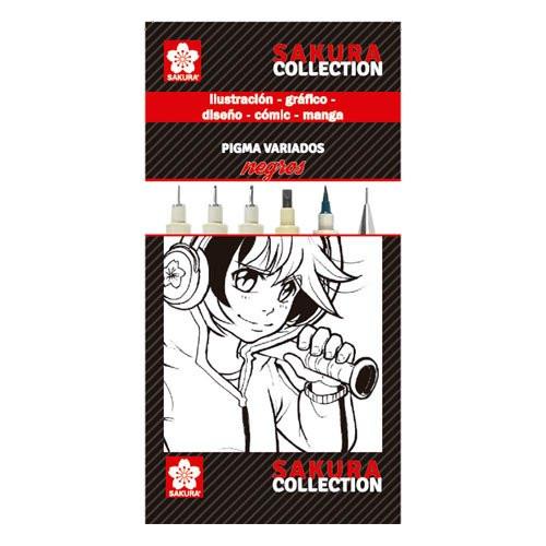 Set rotuladores NEGROS Pigma Sakura