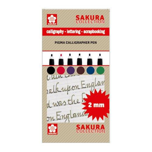 Set 6 rotuladores Pigma Calligrapher Pen 2mm Sakura