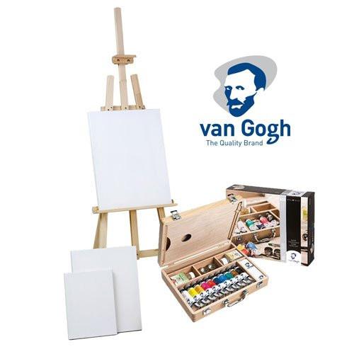 Set de regalo óleo Van Gogh: maleta, caballete y 3 lienzos