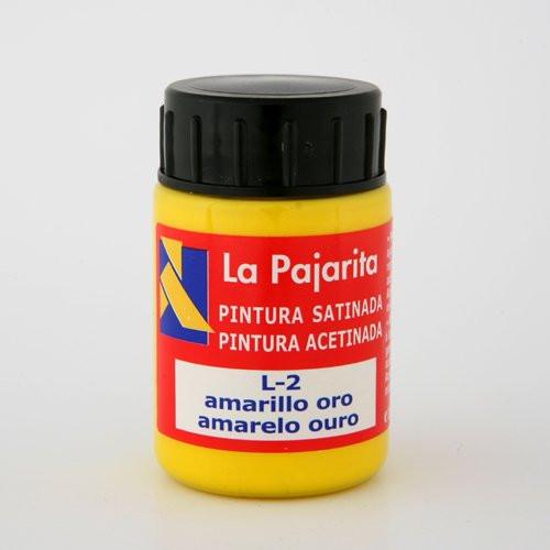 Tempera La Pajarita Amarillo Oro L-02, 35 ml.