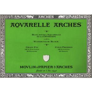Acuarela Arches 185 gr, 23x31 cm, G. Fino, block 20 h.