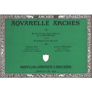 Acuarela Arches 300 gr, 18x26 cm, G. Fino, block 20 h.