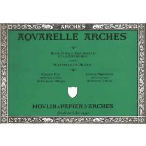 Acuarela Arches 300 gr, 46x61 cm, G. Fino, block 20 h.