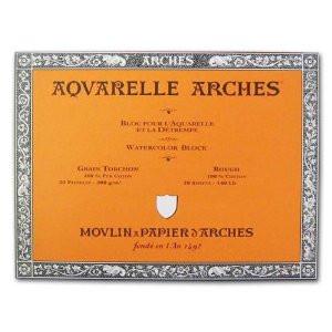 Acuarela Arches 300 gr, 46x61 cm, G. Grueso, block 20 h.