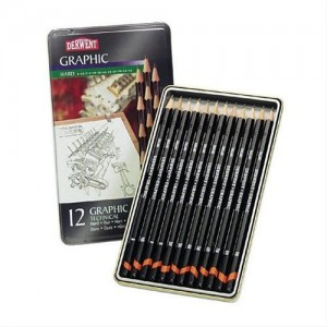 Caja metal lapices Grafito Technical Derwent 12 uds.