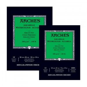 Acuarela Arches 300 gr, 23x31 cm, G. Fino, block 12 h.