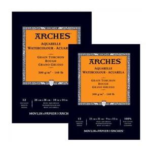 Acuarela Arches 300 gr, 23x31 cm, G. Grueso, block 12 h.