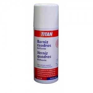 Barniz SPRAY brillante Titan para cuadros, 400 ml.