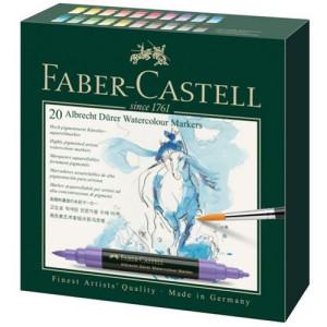 Caja cartón 20 rotuladores de color acuarelables Albrecht Dürer Faber-Castell