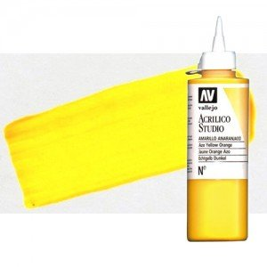 Acrílico Vallejo Studio color amarillo dorado fluorescente (200 ml)