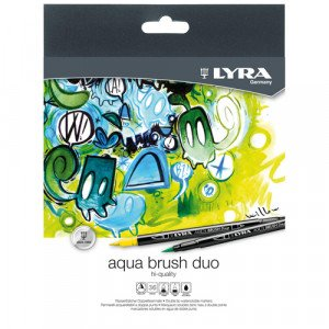Estuche 12 rotuladores doble punta pincel. Aqua Brush Duo, Lyra