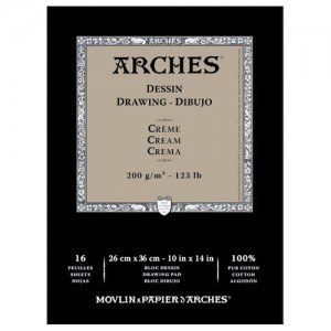 totenart-Dibujo Arches 200 gr, 23x31 cm, Crema, block 16 h.