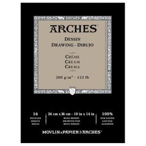totenart-Dibujo Arches 200 gr, 26x36 cm, Crema, block 16 h.