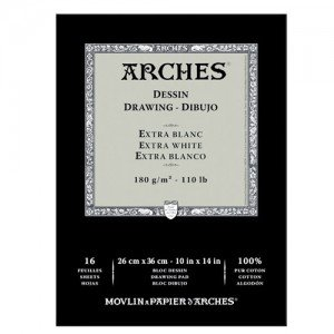 totenart-Acuarela Arches 180 gr, 23x31 cm, Extra Blanco, block 16 h.