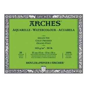 toenart-Acuarela Arches 185 gr, 18x26 cm, G. Fino, block 20 h.