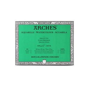 totenart-Acuarela Arches 300 gr, 20x20 cm, G. Fino, block 20 h.