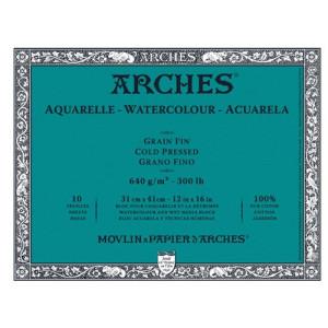 totenart-Acuarela Arches 640 gr, 23x31 cm, G. Fino, block 10 h.